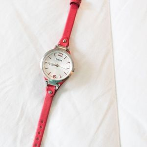 Fossil | Pink Georgia Leather Watch